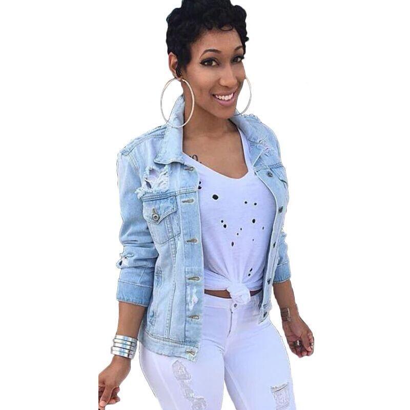 264669007df15 Compre YSMARKET M 5XL Plus Size Cowboy Coat Clothing Mujer Otoño Denim Tops Manga  Larga Casual Jeans Chaqueta Azul Claro E6327 A  38.44 Del Jerkin