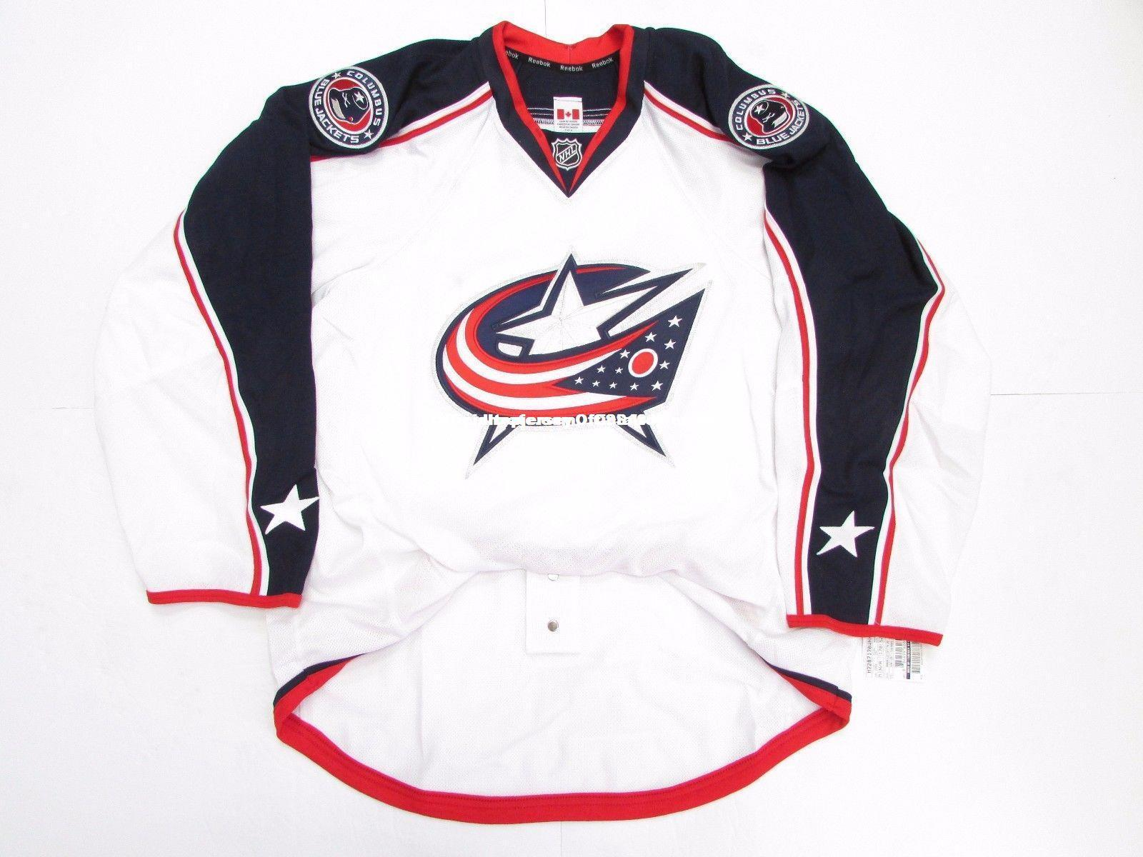 2018 Cheap Custom COLUMBUS BLUE JACKETS AWAY TEAM ISSUED EDGE 2.0 7287  JERSEY Stitch Add Any Number Any Name Mens Hockey Jersey GOALIE CUT 5XL  From ... 48cb1b566