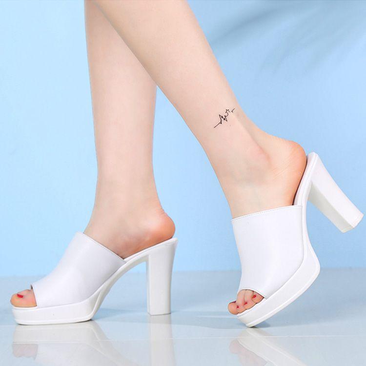 fac635899ab Women Designer Slides Black White Fashion Luxury Fish Mouth High Heel  Sandals PU Leather Summer Platform Slides