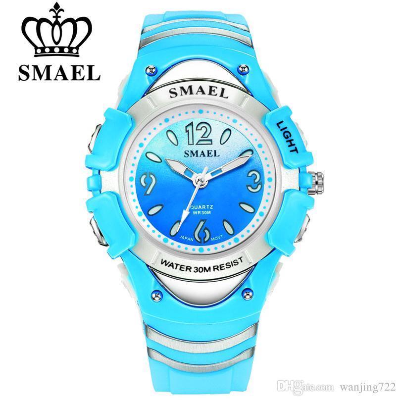 6d617f9b90b Compre Smael Marca De Moda Crianças Relógios Led Digital Relógio De Quartzo  Menino E Menina Estudante Relógio Multifuncional Relógios De Pulso À Prova D    ...