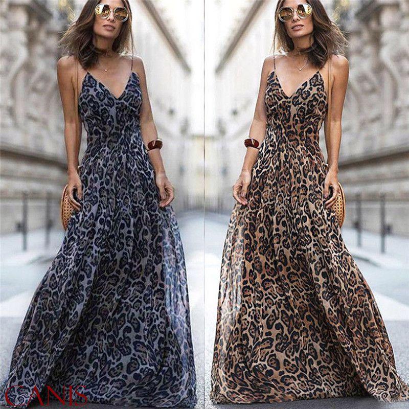 98b2d62741 2019 2019 Fashion Sexy Dress Leopard V Neck Spaghetti Strap Maxi Dresses  Women Summer Chiffon Beach Long Dress Vestidos Robe Femme Q190424 From  Yizhan01