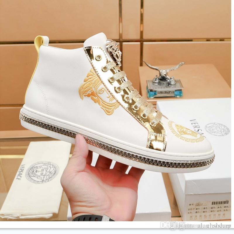 2019C new men's casual sports shoes high-top belt luxury men's travel sports lace original box packaging fast delivery