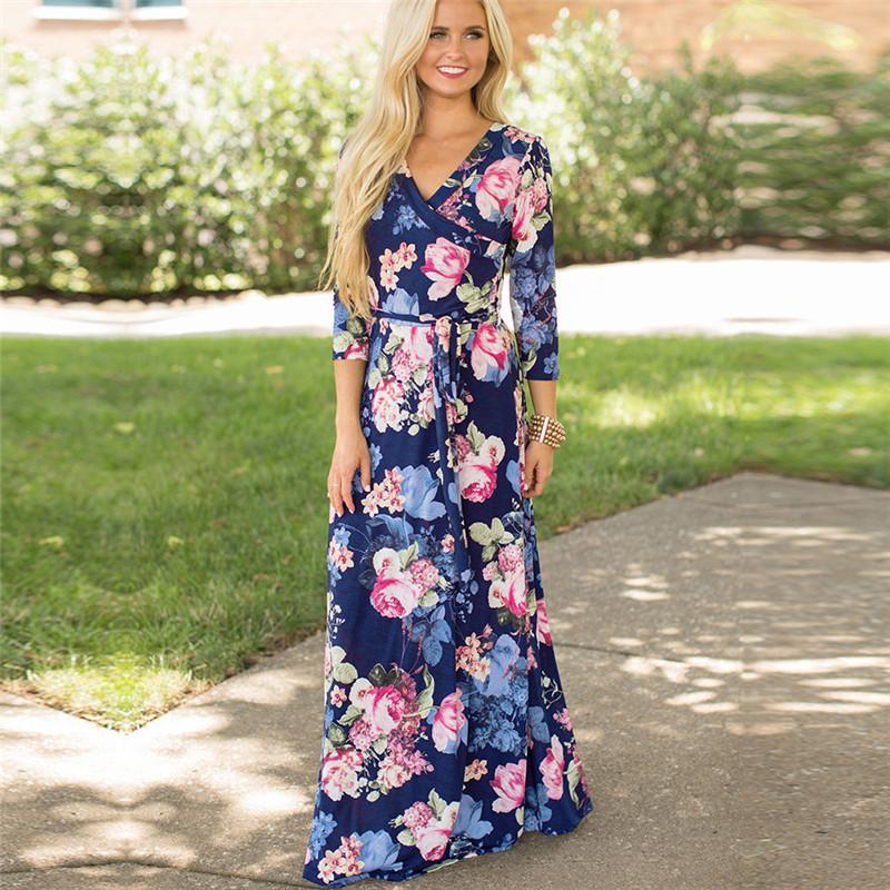 953334bfeb 2019 Floral Summer Dress Women Boho V Neck Beach Dress Casual Sashes Long Ladies  Dresses Plus Size Vestidos De Fiesta De Noche Sundresses For Women Best ...