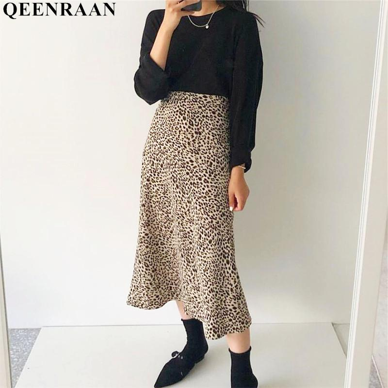 94690d516 Estampado de leopardo del verano Faldas Mujeres de cintura alta Sexy Faldas  largas 2019 Nueva Harajuku Streetwear Sección delgada Falda Jupe Faldas ...