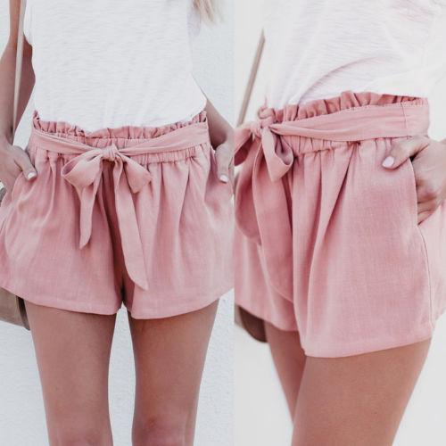 7d020f894f 2019 Women Casual Belt High Waist Cotton Blend Loose Shorts Women Ladies  Clothes High Waist Shorts Summer From Billstone, $28.14 | DHgate.Com