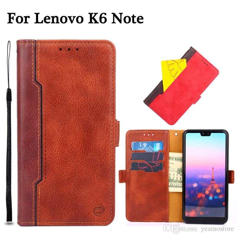 Contrast Color Wallet Case for Lenovo K6 Note Vibe P1 P1M P1 turbo Vibe P2  Case PU Leather Flip Card Hold Stand Bag