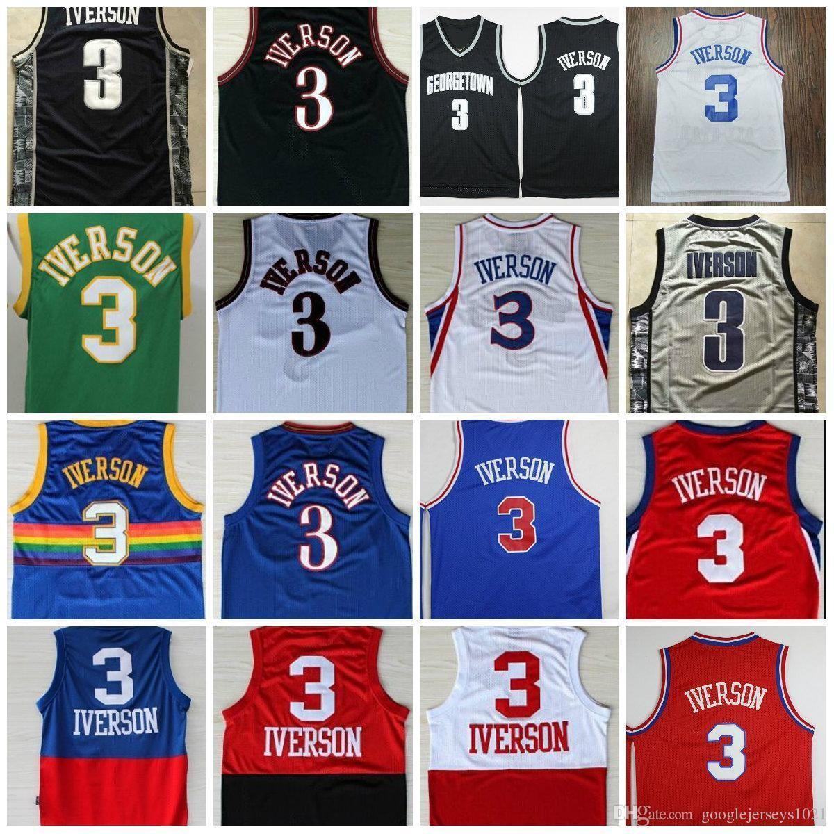 e69e7bf1f 2019 College NCAA Cheap Mens Allen Iverson Jerseys Georgetown Hoyas USA  Alll Star Black Blue White Rev 30 Classical Jerseys From Fanatical store