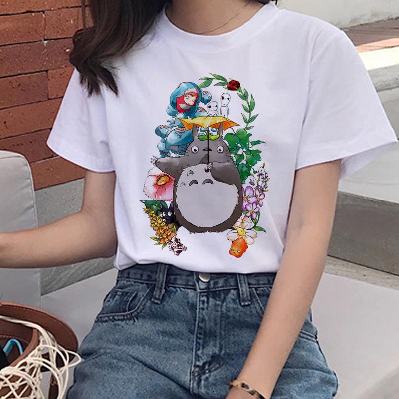 Harajuku Kawaii T Shirt Women Studio Ghibli Ullzang Funny Cartoon Print T-shirt 90s Graphic Tshirt Cute Top Tees Female