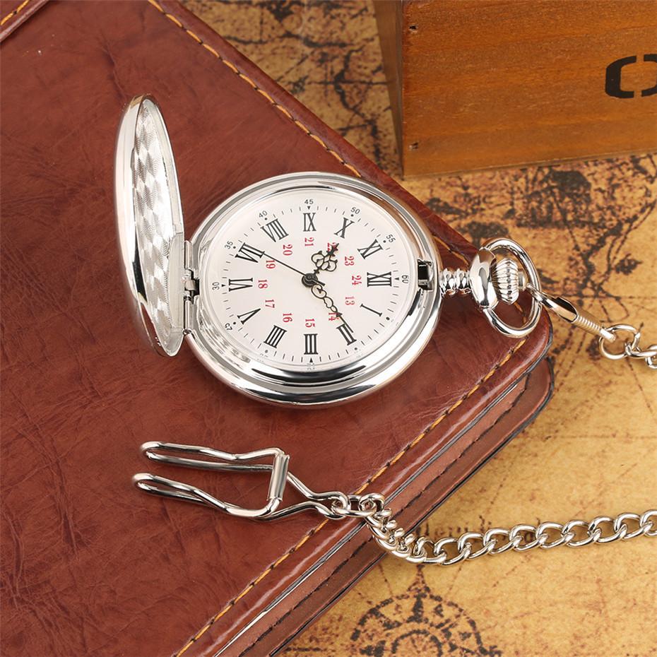 'Para MEU FILHO' Palavras de Prata de Quartzo de Prata Relógio de Bolso Homens Relógios Número Romano Único Homem Cadeia de Relógio de Menino de Aniversário Presentes de Natal
