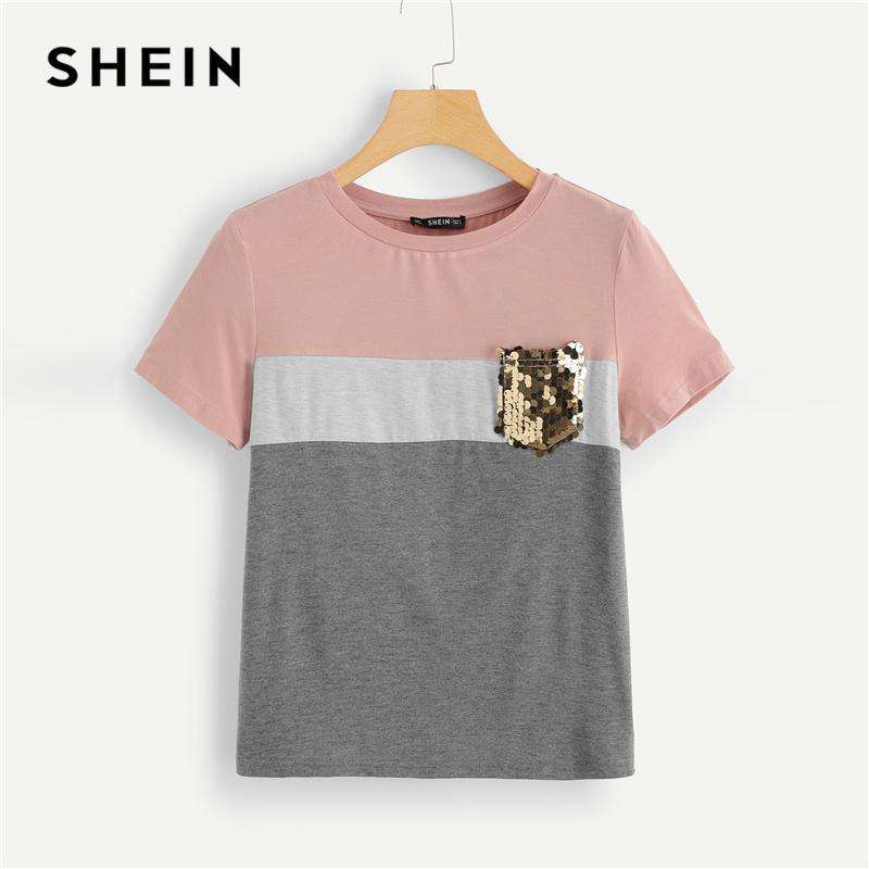 Courtes Couper Sequin Multicolore Shirt Travail Pocket De Shein Femmes Colour Block Coudre T Tee Shirts Top Et Vêtements Casual D Manches Été uikXPZ