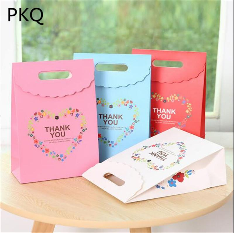 Large Thank You Bags Gift Bag With Handle Christmas Candy Packaging DIY Cookies Paper Birthday Favor Box Ribbon For Wrapping