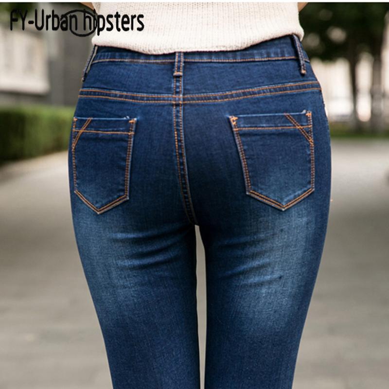 135fc50dc836 Женщины синие джинсы высокой талией Джинсы женщина высокая эластичная плюс  ...