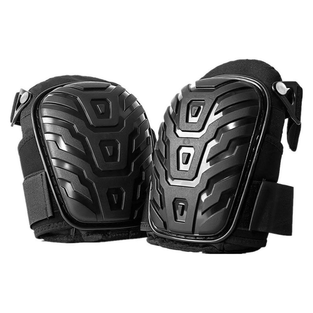 1 Pair Professional Knee Pads with Adjustable Straps Safe EVA Gel Cushion PVC Shell Knee Pads for Heavy Duty Work