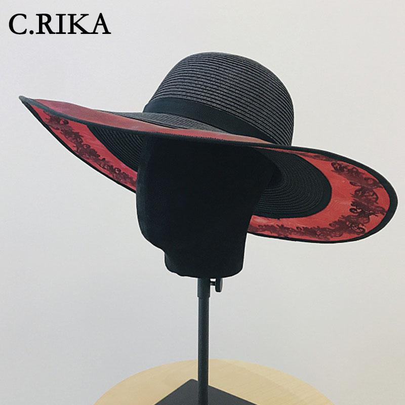 d21f426be854a8 2019 Summer Straw Hat Women Girls Big Wide Brim Beach Hats Lace Brim Black  UV Protection Panama Hat Japanese Sun For Women Fishing Hats Funny Hats  From ...