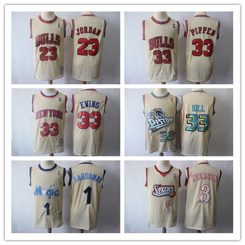 d4084258a2fc Cheap 2019 Retro Mitchell   Ness Brige Basketball Jersey 23 Michael JD 3  Allen Iverson 1 Penny Hardaway 33 Scottie Pippen Patrick Ewing Grant Hill