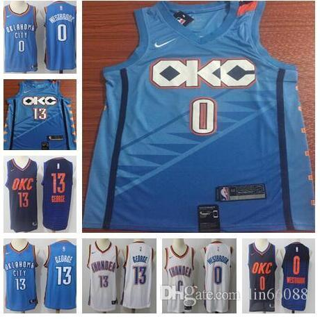 the latest 0d275 0d157 OKC jersey Thunder 0 Westbrook 13 George men's popular basketball jersey  2018-2019 NEW edition top quality free shipping