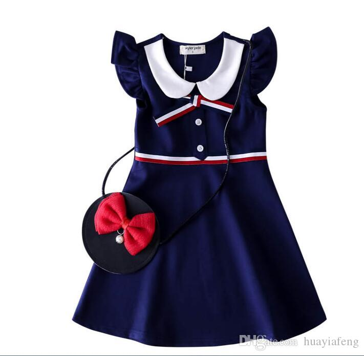 Wholesale high-end girls dress spring new T-shirt short-sleeved shirt girls cotton long-sleeved dress high-end children's dress