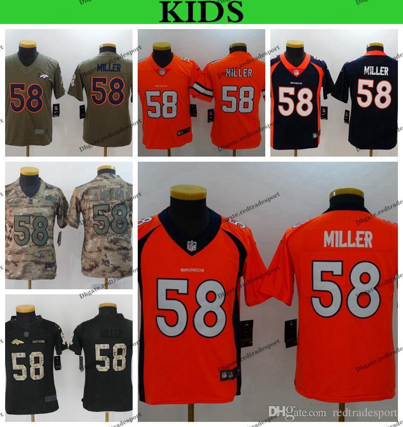 8445aed0 Youth Denver Kids Broncos 58 Von Miller Football Jerseys Cheap Von Miller  Boys Stitched Shirts S-XXL