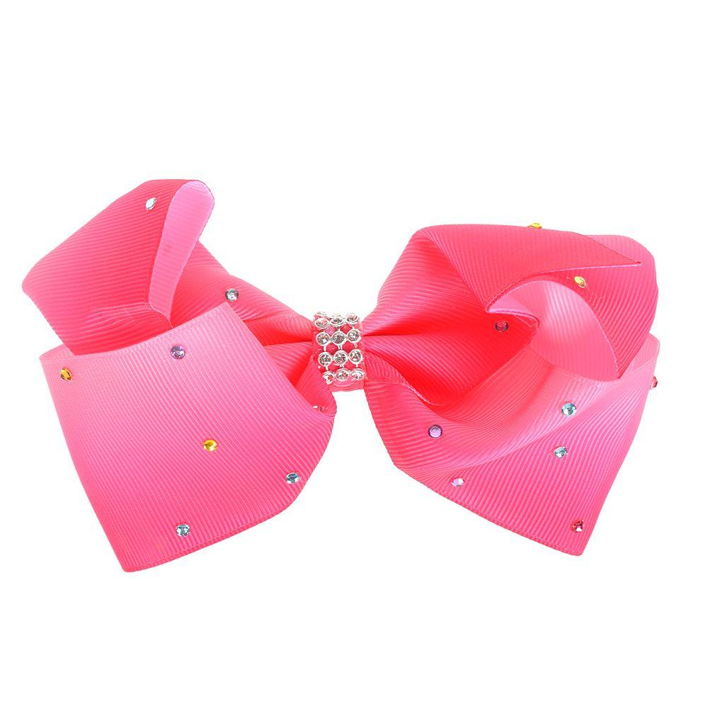 2018 Baby Girls Fabric Big Bowknot Pinzas para el cabello Rainbow Bows Hairpin Rhinestone Hairgrip Kids Headwear Barrette Hairpins Beauty