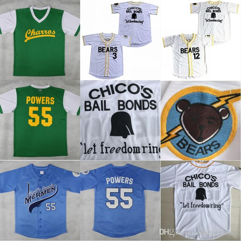063c97f1839 Kenny Powers #55 Mexican Charros Baseball Jersey Bad News Bears #12 Tanner  Boyle 3 Kelly Leak 1976 Chico's Bail Bonds Movie Baseball Jersey