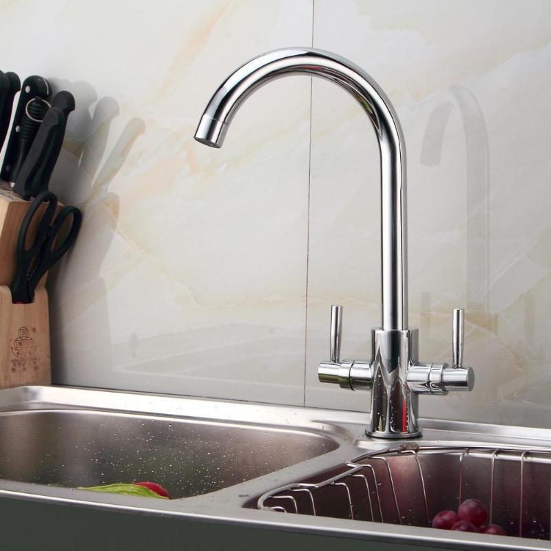 2019 kitchen sink mixer tap luxury modern chrome twin lever swivel rh dhgate com chrome kitchen sink soap dispenser chrome kitchen sink soap dispenser