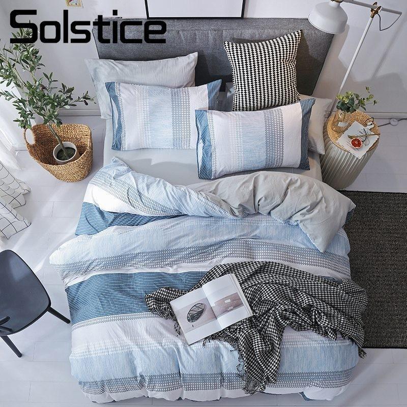 Acheter Solstice Home Textile Housse De Couette Taie D oreiller Drap Plat  Literie Rayure Bleue Simple Fille Adolescente Adulte Garçon Literie Linge  De ... b5c7f1d788e