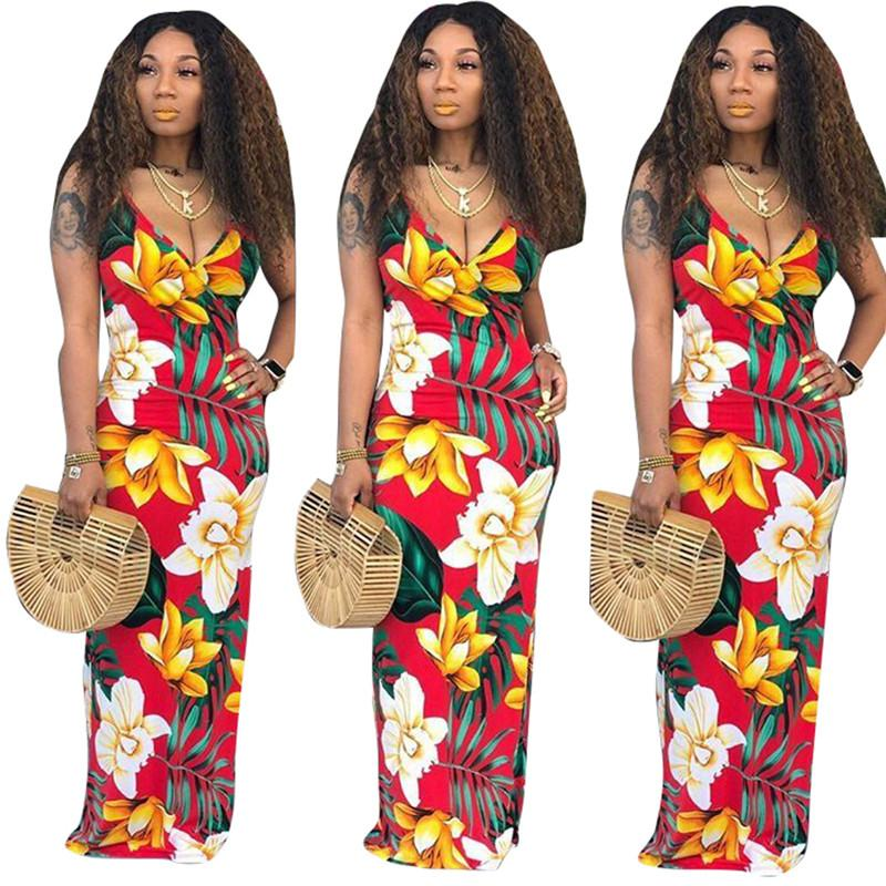 e40d3beca2 2019 Women Deep V Neck Sling Dress Flora Print Spaghetti Bodycon ...