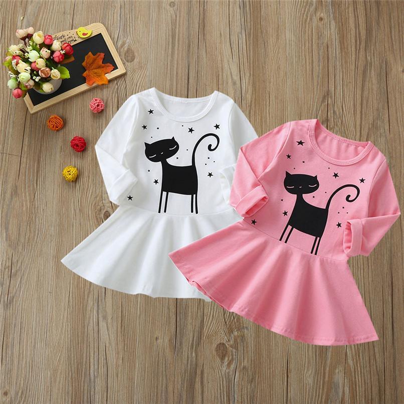 48c73cdf3420 2019 2019 New Girls Dress Toddler Infant Kids Baby Girls Cartoon Cat ...
