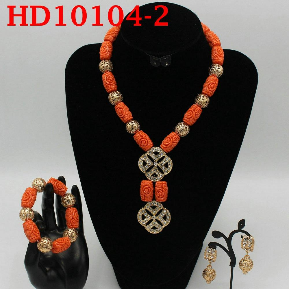 Red Coral Jewelry Sets for Women Fantastic Red and Gold Nigerian Wedding Gift Coral Bead Necklace Jewelry Set for Brides HD10104