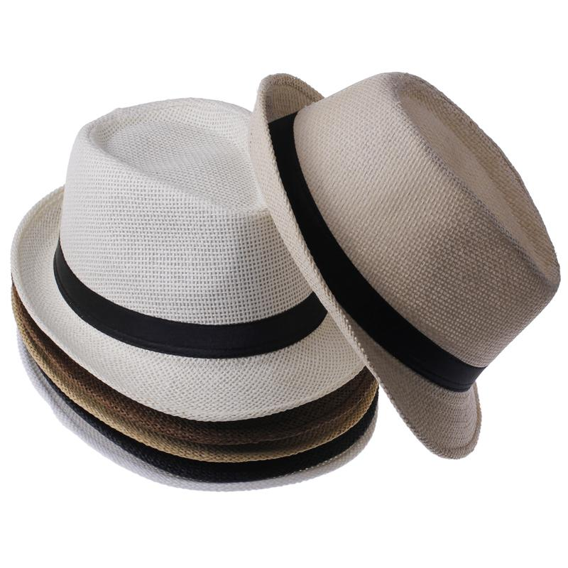 6 PCS/Lot Straw Women's Men's Summer Beach Sun Hats Trilby Gangster Jazz Cap Sunhat Beach Sun Straw Panama Hat Wholesale