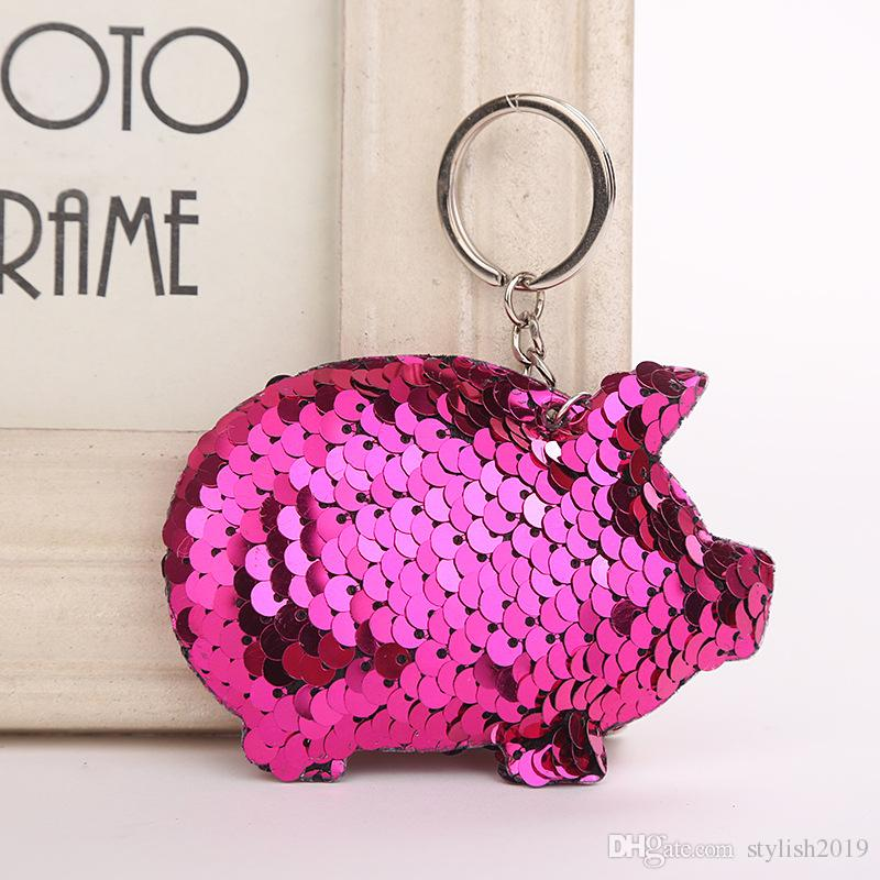 Cute Chaveiro Pig Keychain Glitter Pompom Sequins Key Chain Gifts ... dfdb547ee