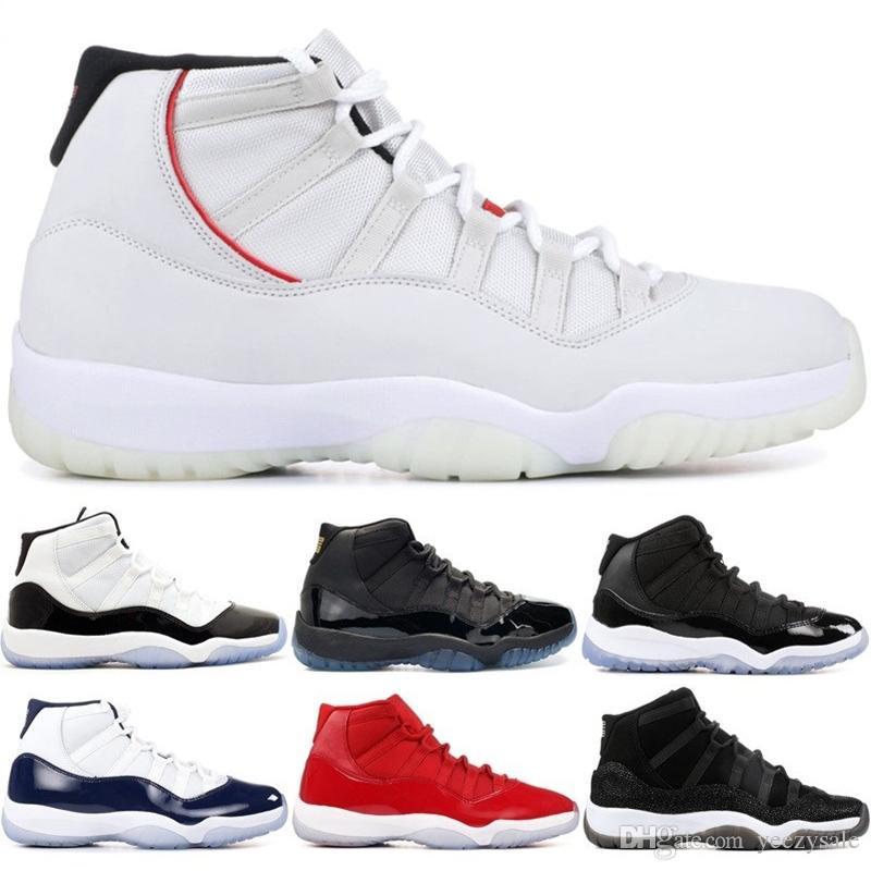 81863a5733c3f Acheter Nike Air Jordan 11 Retro Chaussures De Basket Ball Teinte Platine  Concord 45 Bonnet Et Robe PRM Race Héritière Gymnase Espace Rouge  Confitures 11 S ...