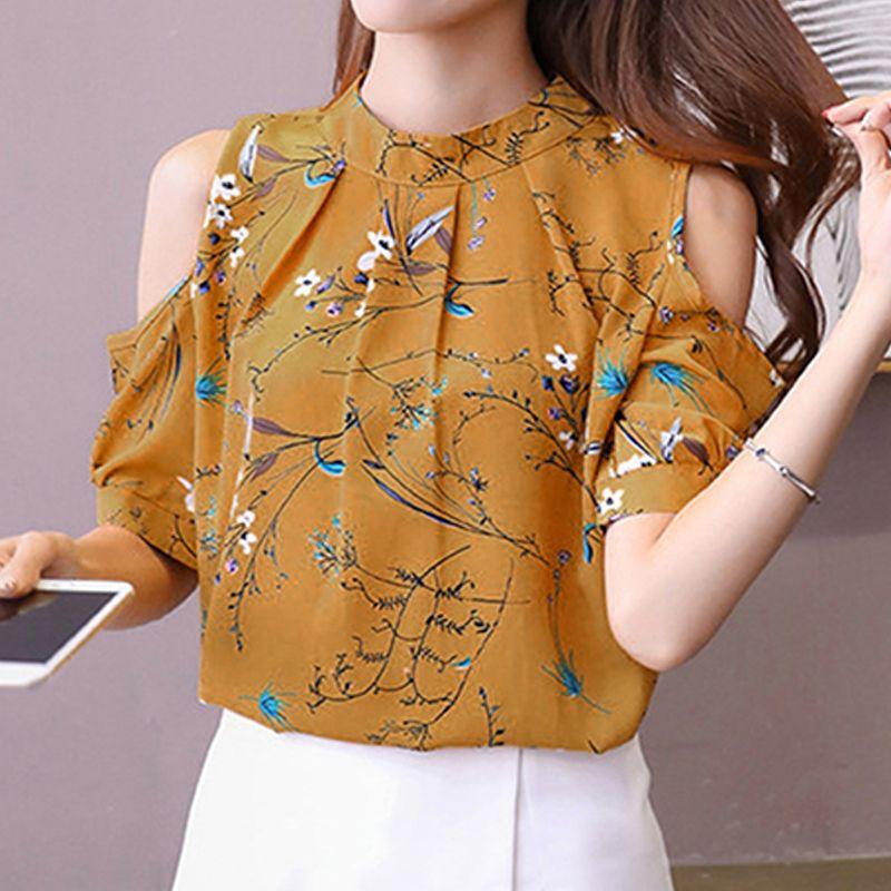 14ca55383eafaa 2019 Good Quality Chiffon Print Blouse Floral Shirt For Womens Elegant Open  Shoulder Blouses Women Short Sleeve Plus Size 3XL Female Tops From  Jincaile08