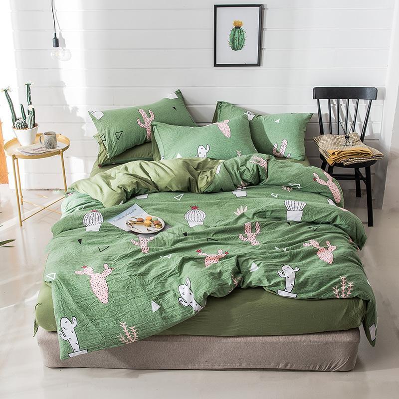 29f96838bf Compre Têxtil De Casa Conjunto De Cama Cacto Cama Verde Capa De Roupa De  Cama Lençóis Colcha Plantas De Cama Crianças Moderna Simples De Donaold