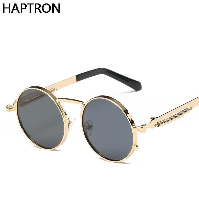 ccf92ba5f Compre Gótico Steampunk Rodada Óculos De Sol Dos Homens Espelhado Círculo Óculos  De Sol Para Homens Marca Designer Retro Vintage Masculino Oculos De ...