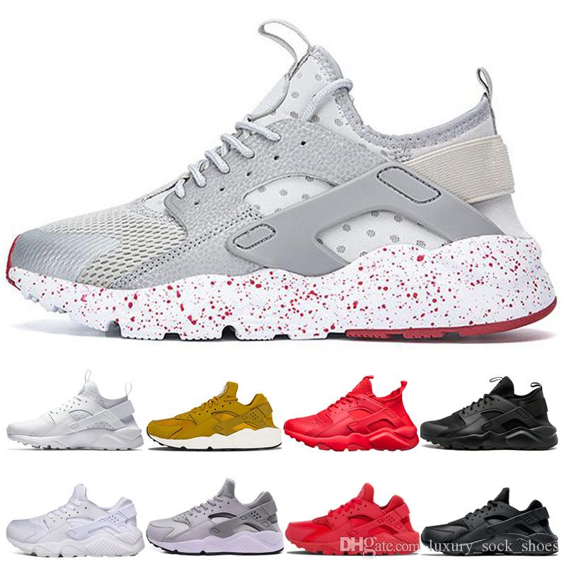 nike air huarache  2019 Huarache Run 1.0 4.0 Stripe cinza com red dot Ultra tênis Running White Gold Trainer Shoes Mens Designer Esporte Tênis
