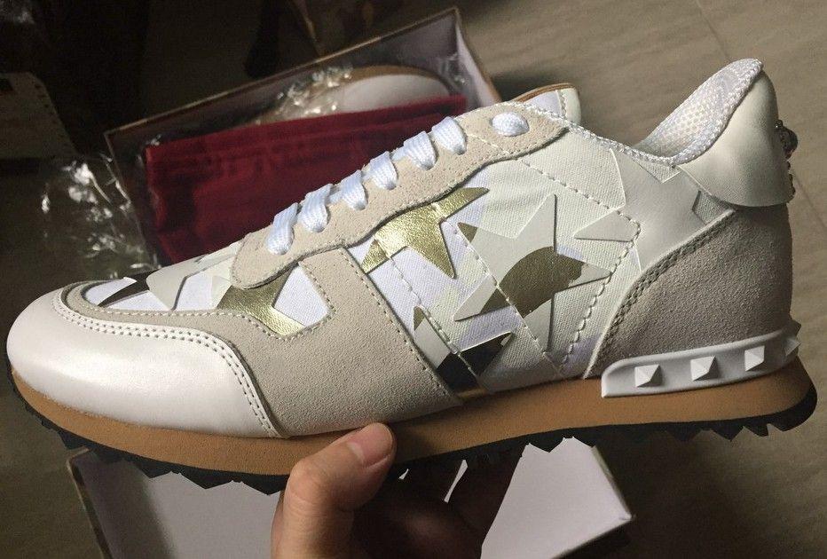 Echtes Leder Top Fashion Camouflage Paare Schuhe Herren Casual Lederschuh Spike Rivet Günstige Sneakers Casual Schuh Für Frau