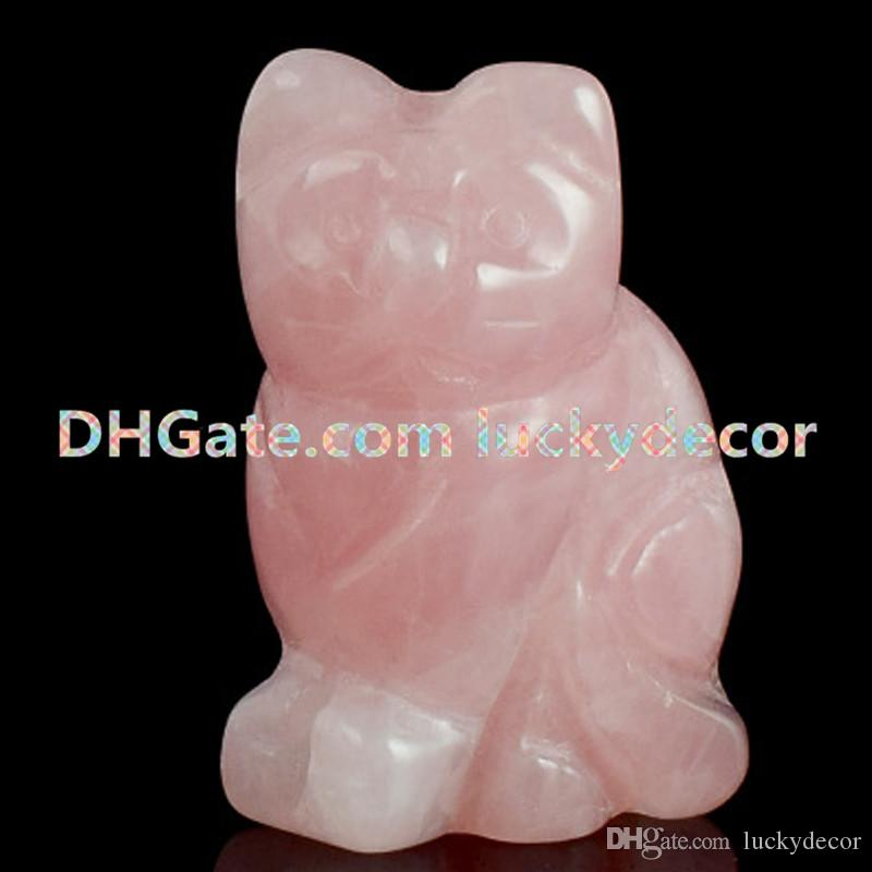 "10Pcs Wholesale 1.5""/2"" Small Natural Pink Rose Quartz Gemstone Crystal Hand Carved Adorable Cat Statue Figurine Animal Crafts Home Decor"