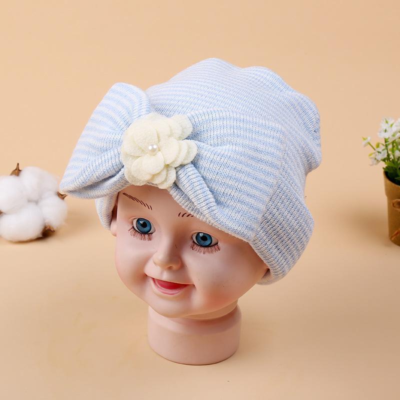 d5b378cfbbae 2019 Baby Girl Hat Bow Knit Beanie Cute Kids Turban Cap Bonnet For ...