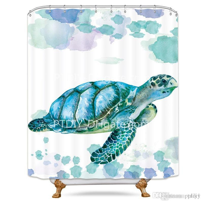 2019 White Sea Turtle Shower Curtain Free Metal Hooks 12 Pack Ocean Animal Colored Panel For Bathtub From Ptdiy1 2136
