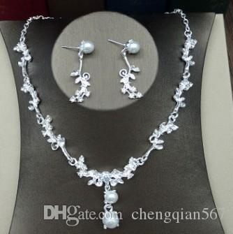 more color wedding bride diamond crystal 925 silver lady's necklace earrings set 9ht