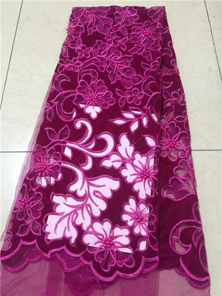 Apparel Sewing & Fabric Hospitable Top Sale Fashion Velvet Nigerian Lace Fabric 2019 Dubai Embroidered French Tulle Lace Latest African Lace Fabric With Beaded Arts,crafts & Sewing