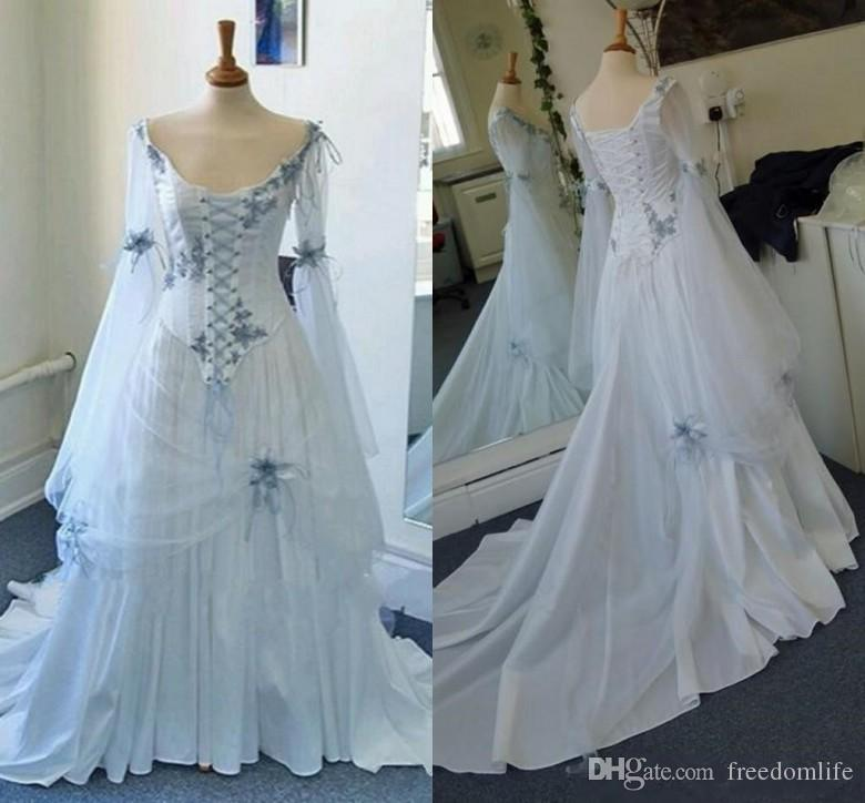 Discount Vintage Celtic Gothic Corset Wedding Dresses With
