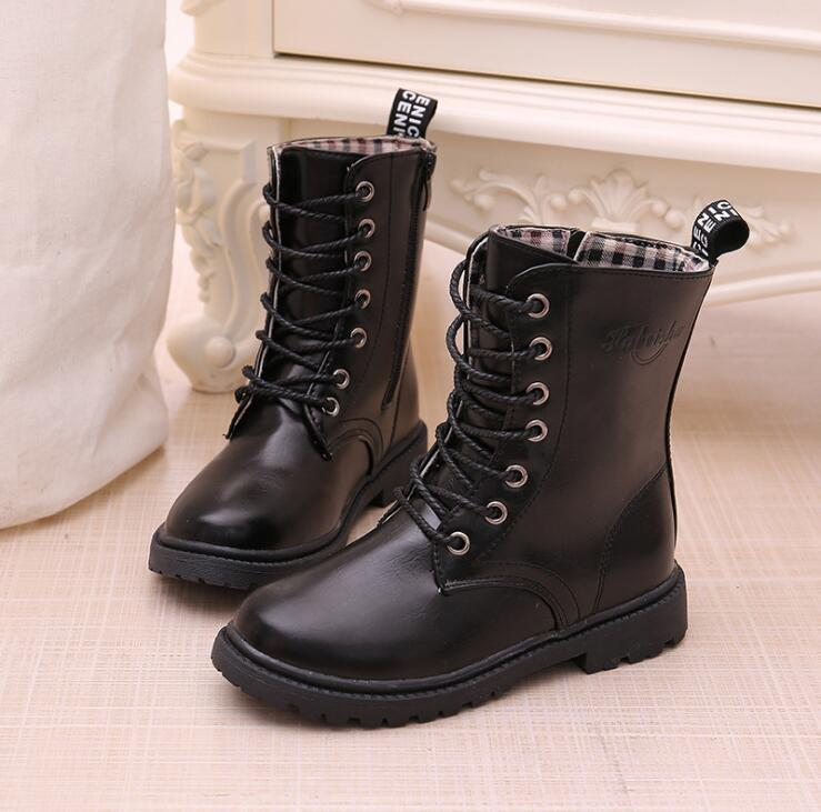 Boys/girls Lace-up Boots 2019 Autumn Winter Waterproof Knight Single Boots Warm Older Children Snow Boots Kids Sneakers Y190525