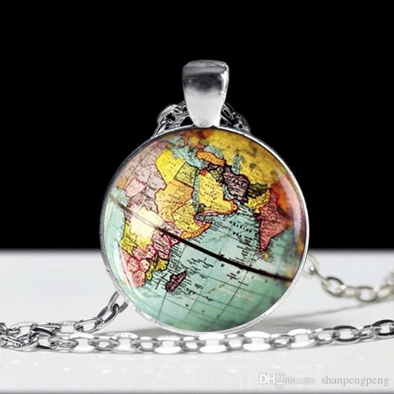 Globe Earth World Map Pendant Glass Chain Jewelry New York Map Necklace