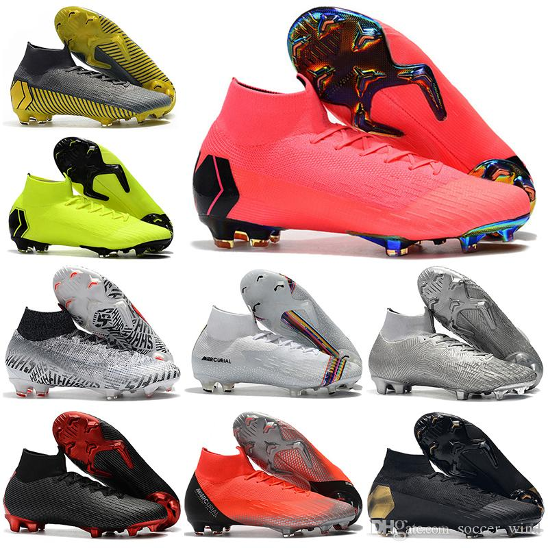newest collection b4f4b 778a6 2019 New Mens High Ankle Football Boots Superfly 6 Elite FG Soccer Shoes  Original CR7 Mercurial Superfly VI 360 Neymar NJR Soccer Cleats