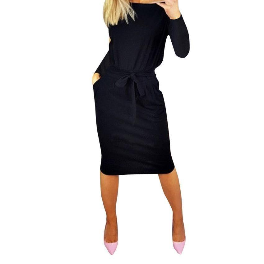 c6afd406a420 Women Pockets Casual Dress Ladies O Neck Autumn Long Sleeve Midi Dresses  Bow Waist Soild Shift Dress  BF Casual Dresses Cute Dresses From Jamie21