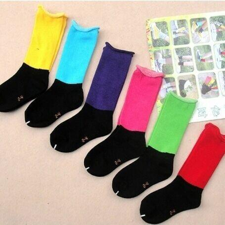 Middle tube children's socks loose mouth color candy princess pile socks wholesale children's socks