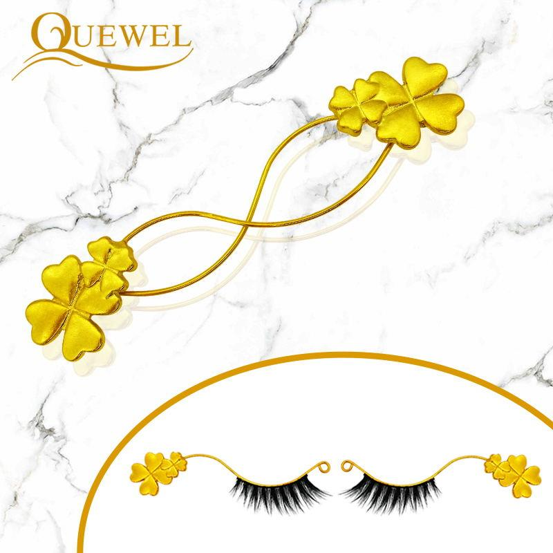 Quewel False Eyelash Extension Display Board Eyelashes Auxiliary Tool Gold Metal Durable Magnetic Showing Shelf Grafting Holder
