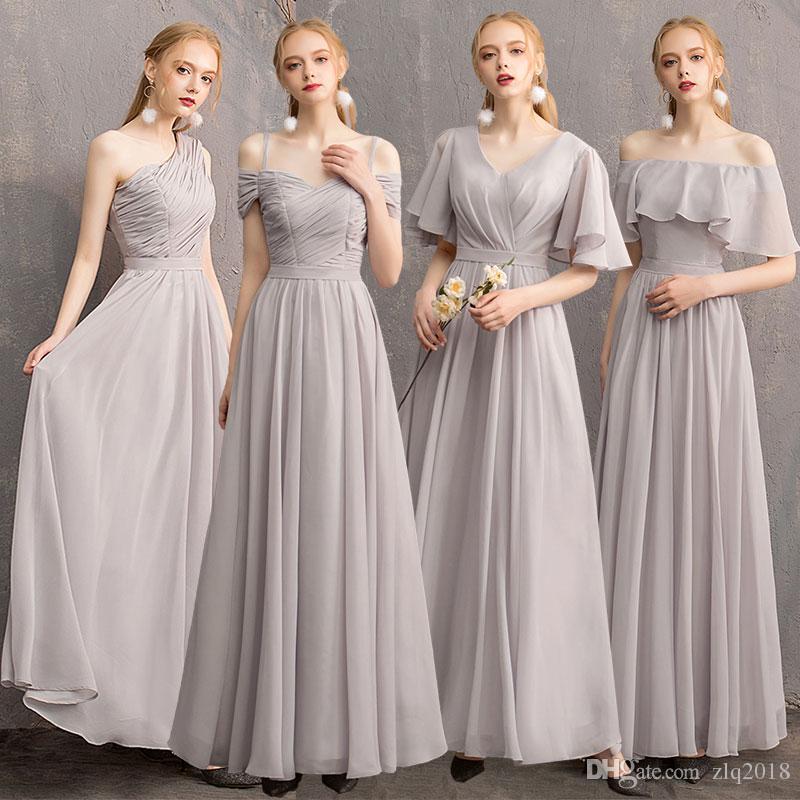Großhandel 2019 Sexy Lange Brautjungfernkleider 4 Stil ...